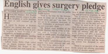 English gives surgery pledge - Sunday Star Times - 12 October 1997