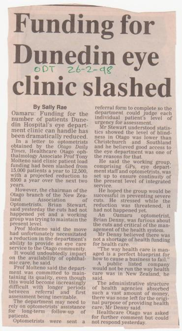 Funding for Dunedin eye clinic slashed - Otago Daily Times - 26 February 1998