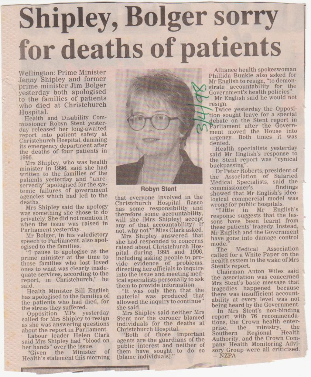 Shipley, Bolger sorry for deaths of patients - 3 April 1998